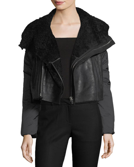 Boxy Shearling-Lined Moto Jacket