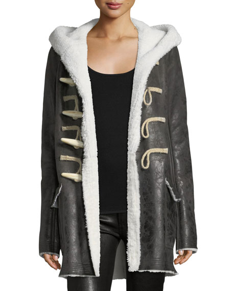 Shearling-Lined Toggle-Front Coat