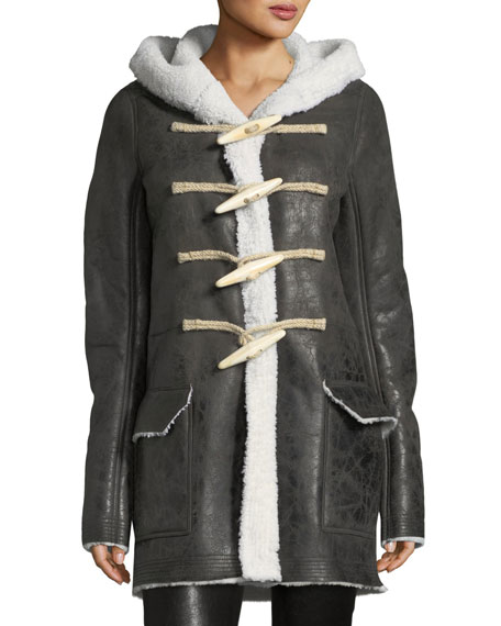 Rick Owens Shearling-Lined Toggle-Front Coat
