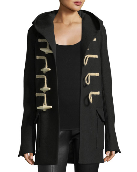 Hooded Toggle-Front Coat