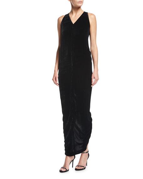 Sleeveless Velvet V-Neck Tank Gown