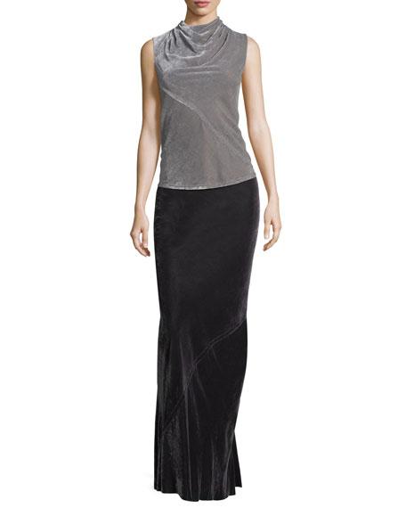 Velvet Bias Maxi Skirt