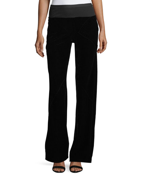 Velvet Wide-Leg Pants