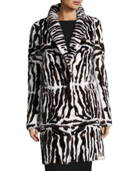 Intarsia Mink Fur Coat, Brown/White