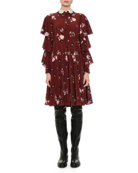 Floral-Print Tiered-Sleeve Crepe Dress, Wine