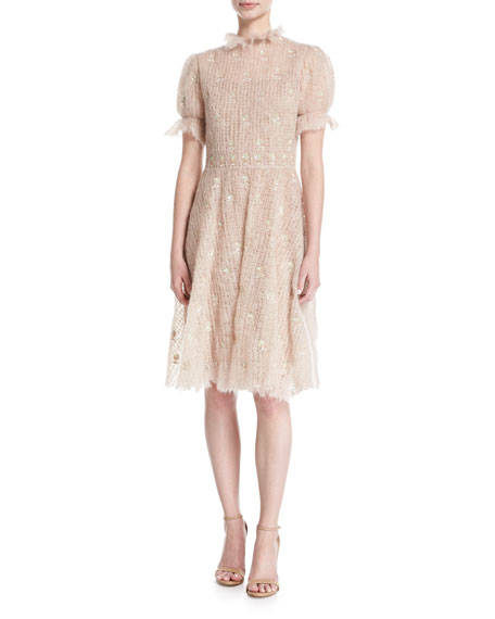 Short-Sleeve Mohair Embroidered Dress, Light Pink
