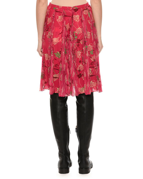 Floral Circle Pleated Skirt, Pink Pattern
