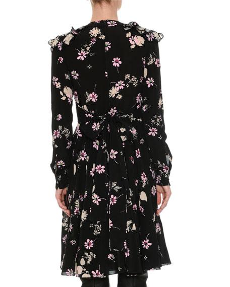 Long-Sleeve V-Neck Floral Crepe Dress, Black Pattern