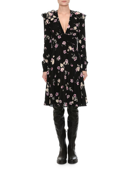 Long-Sleeve V-Neck Floral Crepe Dress, Black Pattern