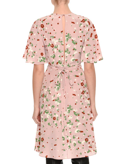 Floral-Print Flutter-Sleeve Dress, Pink Pattern