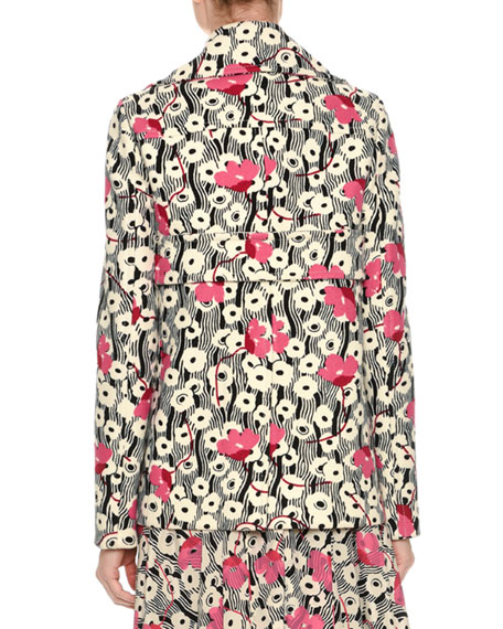 Double-Breasted Floral Wave Jacket, Multi