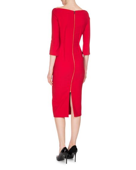 Ardingly 3/4-Sleeve Peplum Dress, Rose