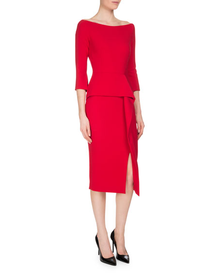 Ardingly 3/4-Sleeve Peplum Dress, Rose