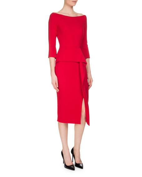 Roland Mouret Ardingly 3/4-Sleeve Peplum Dress, Rose