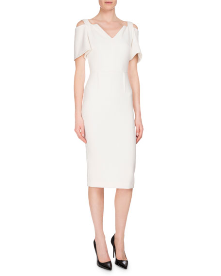 Awalton Cold-Shoulder Sheath Dress, White