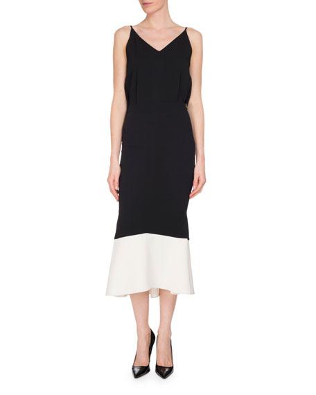 Beadlow Sleeveless Colorblock Trumpet Dress, Black/White