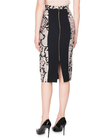 Norley Brocade Fil Coupe Skirt, Black/White