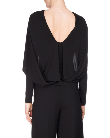 Bagnet Scoop-Back Overlay Top, Black