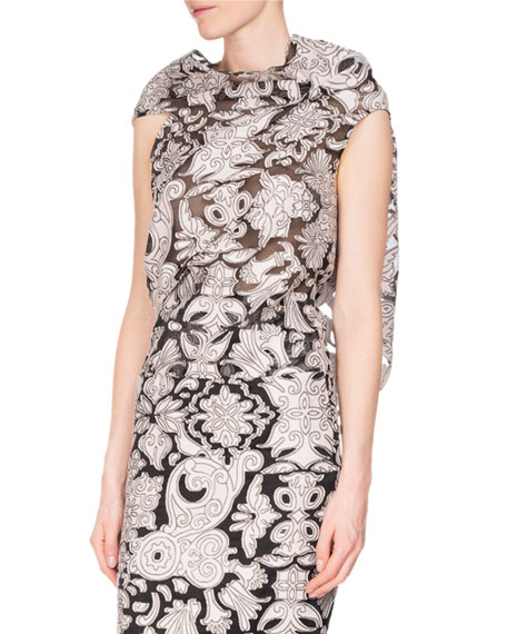 Eugene Brocade Fil Coupe Tie-Back Top, White/Black