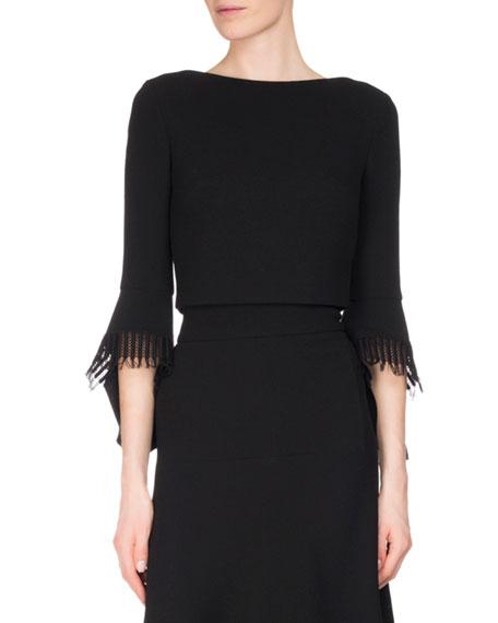 Liverton Wool Crepe 3/4-Sleeve Top, Black