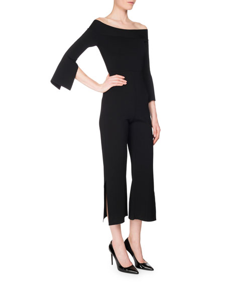 Felbridge Cropped Off-Shoulder Jumpsuit, Black