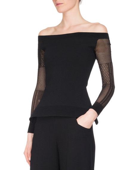 Leafield Off-Shoulder Lace-Sleeve Top, Black