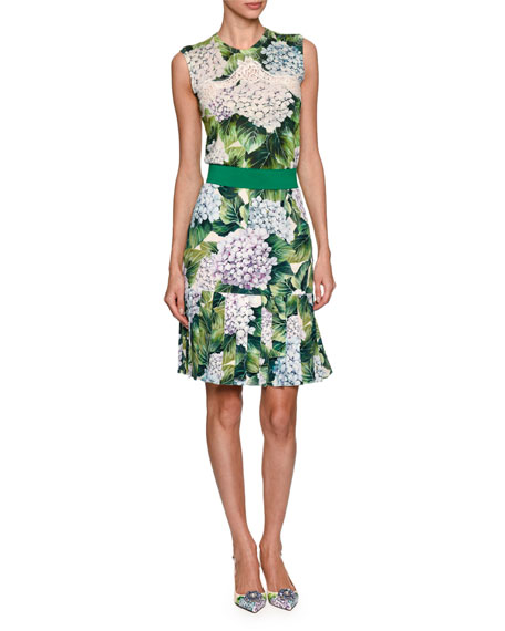 Pleated Hydrangea-Print Skirt, Green Pattern
