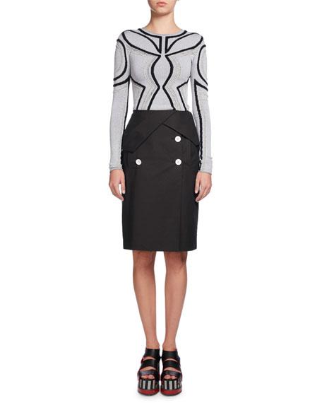 Heavy Poplin Pencil Skirt, Black