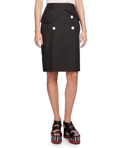 Heavy Poplin Pencil Skirt, Black