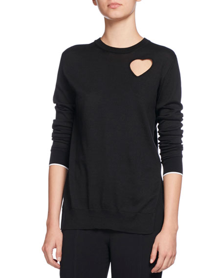 Heart-Cutout Pullover Sweater, Black