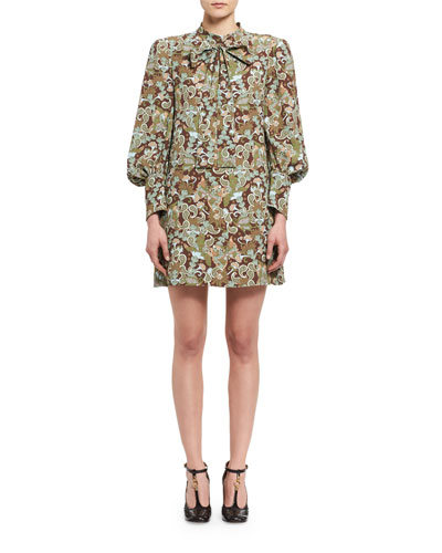 Butterfly Garden Paisley Tie-Neck Dress, Brown/Multicolor