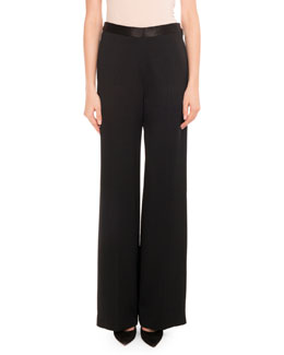 Fluid Crepe Trousers, Black