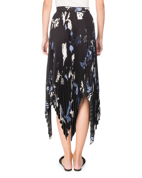 Collage Pleated Handkerchief-Hem Midi Skirt, Black/Pale Blue/White