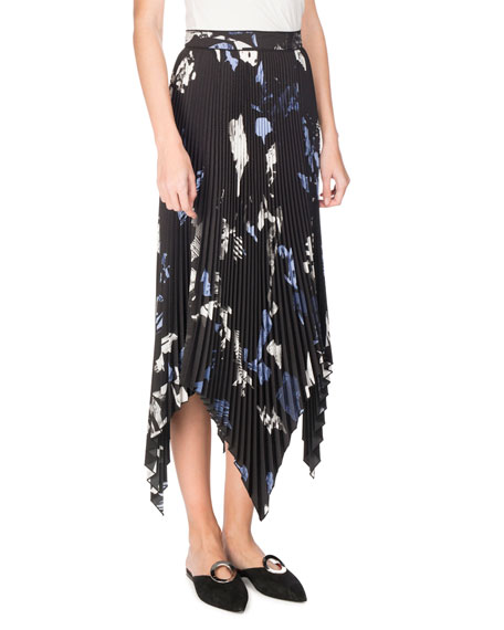 Proenza Schouler Collage Pleated Handkerchief-Hem Midi Skirt,
