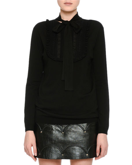 Long-Sleeve Lace-Placket Sweater, Black