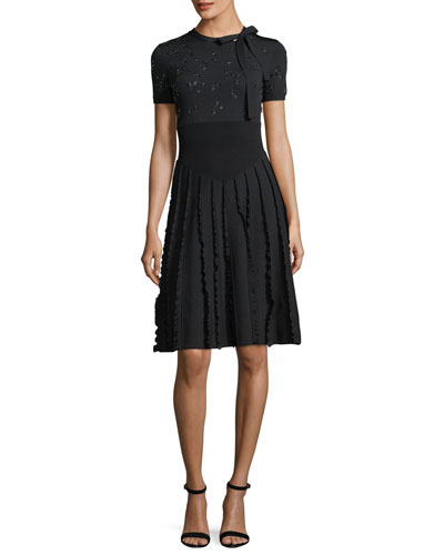 Embroidered Short-Sleeve Knit Dress