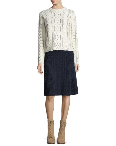 A-Line Wool Skirt, Navy