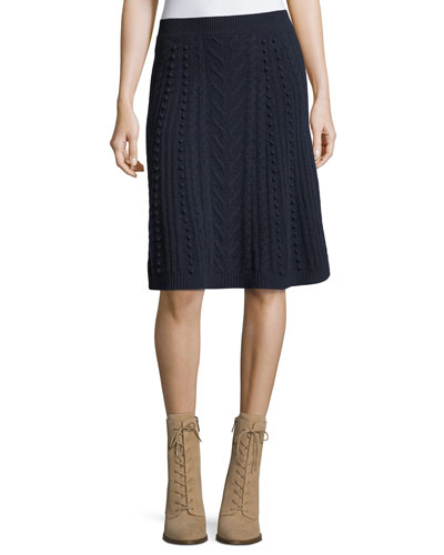 A-Line Wool Skirt, Navy