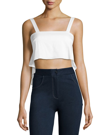 Stretch-Poplin Crop Top, White