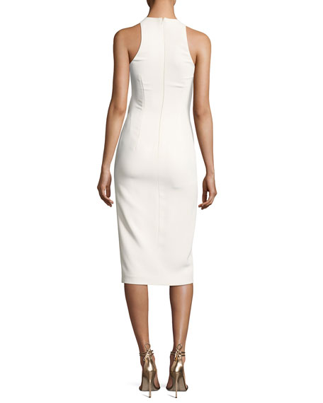 Sleeveless Pleat-Front Cady Dress, White