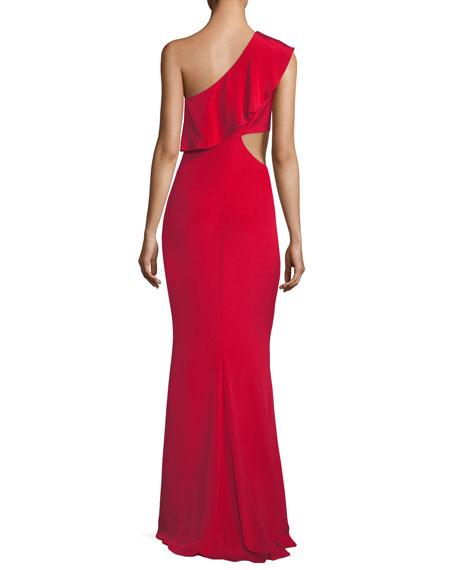 Ruffled One-Shoulder Silk Gown