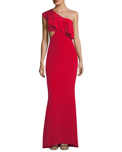 Ruffled One-Shoulder Silk Gown