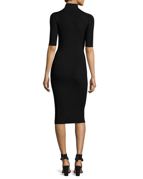 Cutout Knit Midi Pencil Dress, Black
