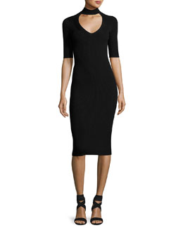 Cutout Knit Midi Pencil Dress, Black