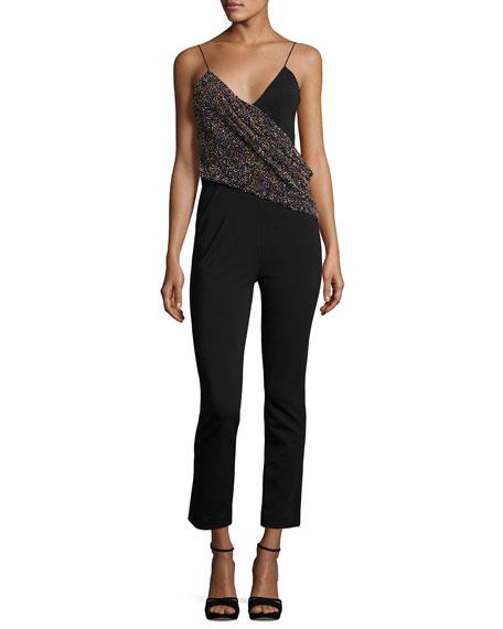 Beaded Wrap-Front Crepe Jumpsuit, Black Pattern