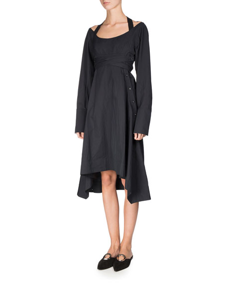 Proenza Schouler Long-Sleeve Sateen Harness Dress, Black