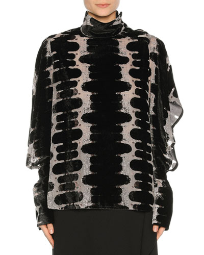 Dévoré Velvet High-Neck Blouse, black