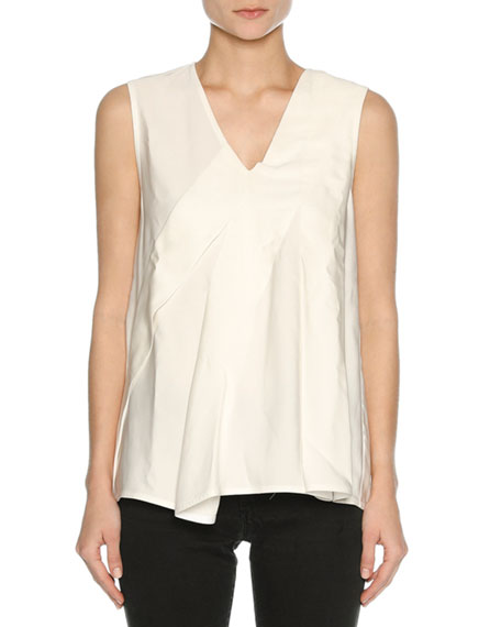 V-Neck Sleeveless Poplin Top, White