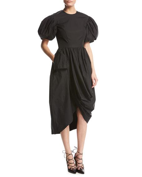 35d6081815 Simone Rocha Puff-Sleeve Draped Cotton Dress
