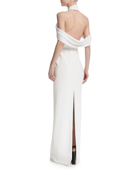 Draped Cold-Shoulder Crepe Gown, Ivory